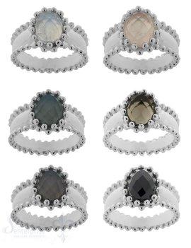 Silberring gepunktet mit oval Stein facett
