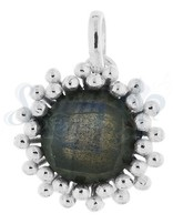 Anhänger Silber hell rund facett. 15  mm Fassung doppelreihig versetzt getupft