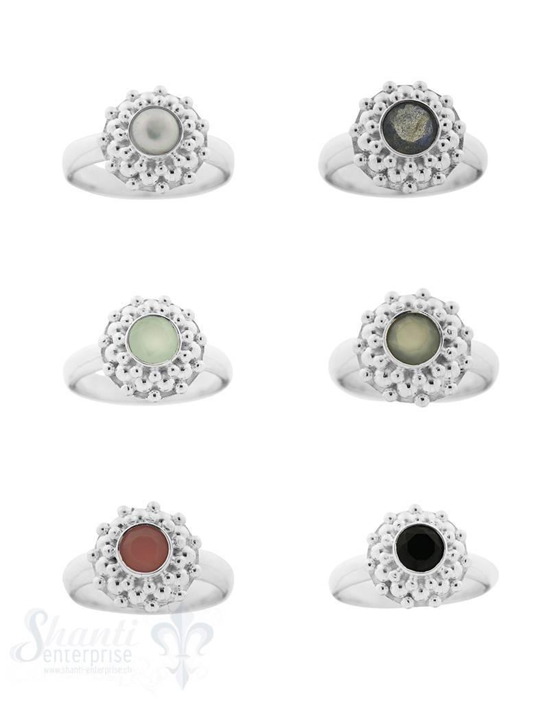 Silberring kegelförmig gepunktet