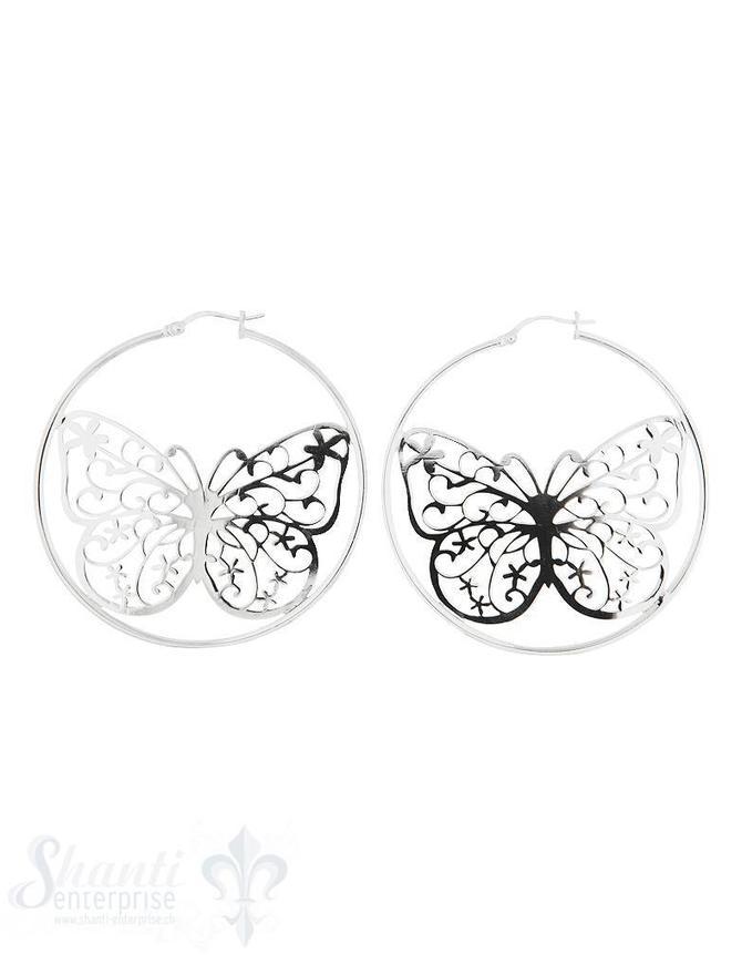 Ohrhänger Silber Creolen mit Schmetterling durch brochen darin eingesetzt  45 mm