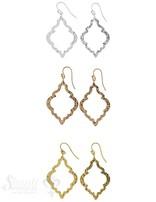 Ohrhänger Silber hell orientalische Form gehämmert ausgestanzt fein 40x26