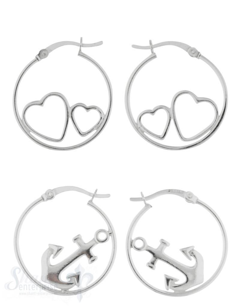 Ohrhänger Silber Creolen 20 mm mit eingesetzten poliert mit Click-Verschluss