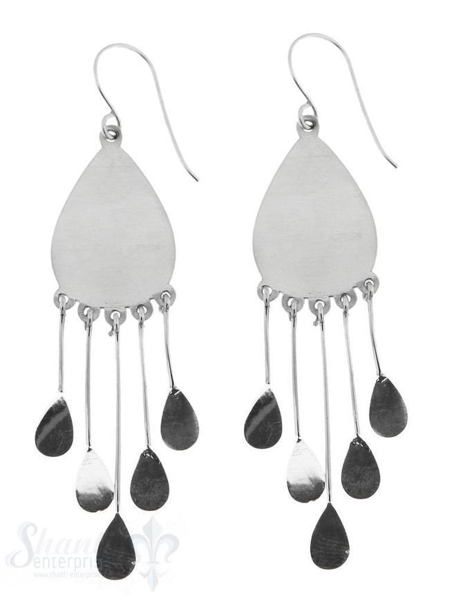 Ohrhänger Silber poliert Tropfen flach Anhänger Tropfen div. Längen 45x15 mm