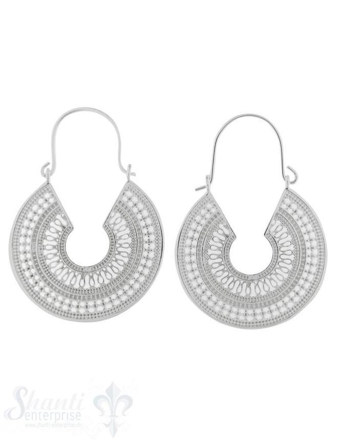 Ohrhänger Silber Creolen rund mit Muster 43x30 mm Clickverschluss