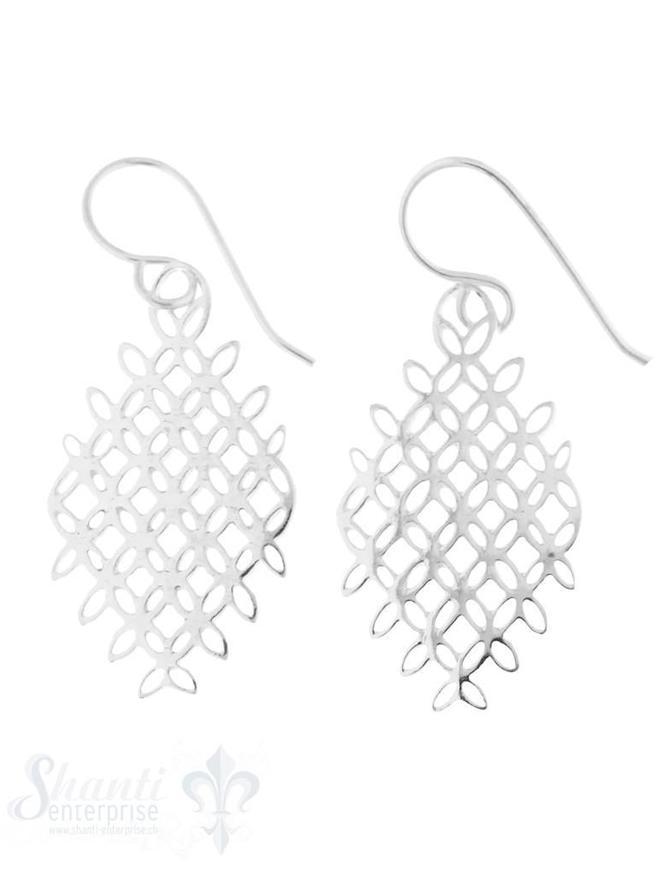 Ohrhänger Silber längliches Amulett hell 27x15 mm