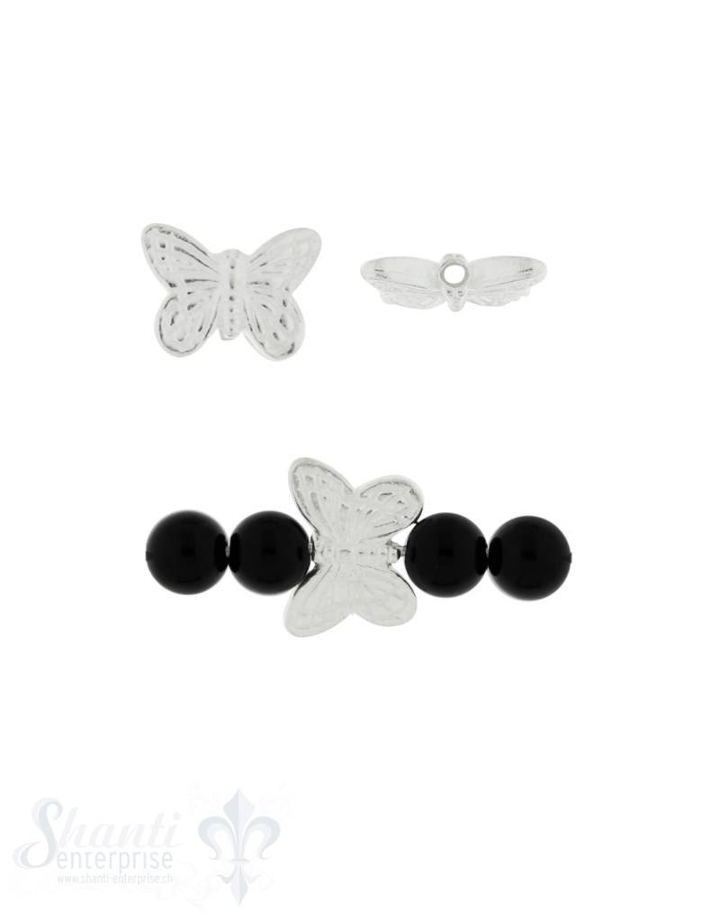 Zwischenteil Silber hell Schmetterling verziert