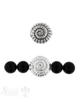 Zwischenteil Silber Schnecke gerillt 17 mm Loch 2 mm