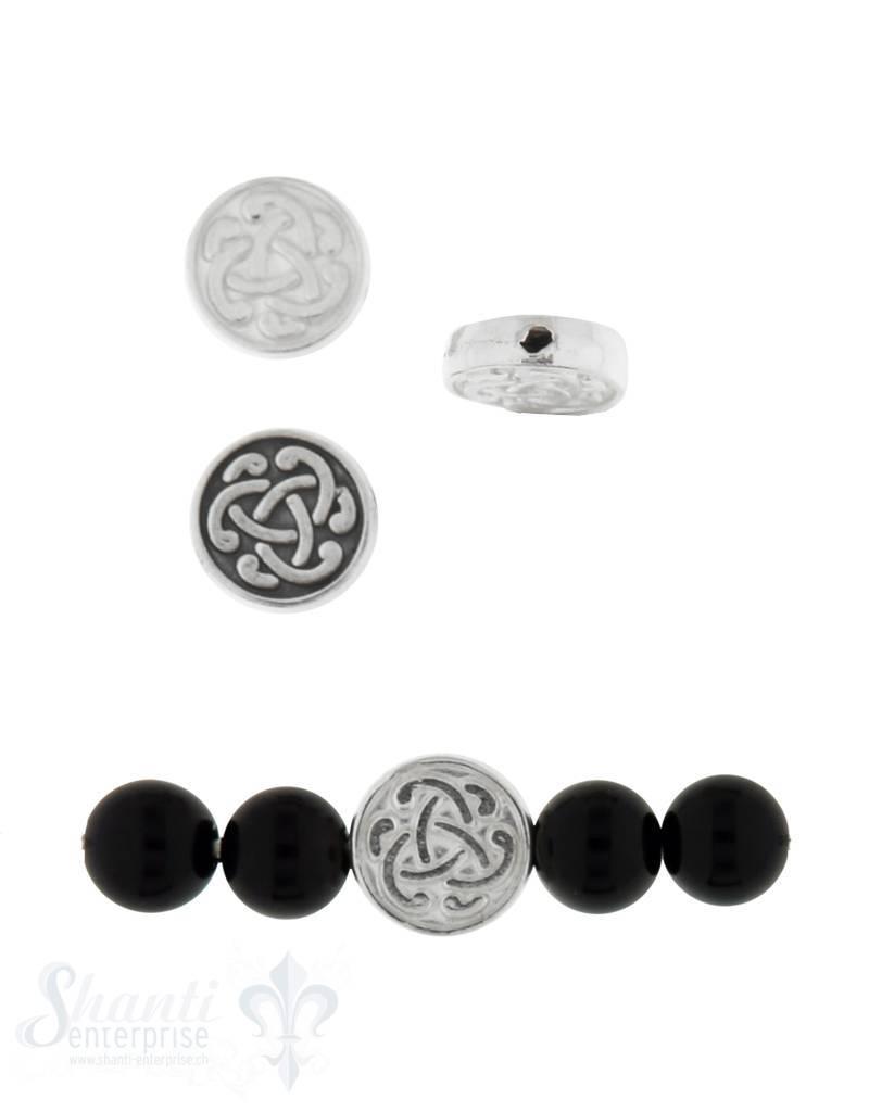 Zwischenteil Silber keltischer Knoten 9 mm Di cke 2.4 mm Loch 0.8 mm 1 Pack = 5 Stk. ca. 3 gr.