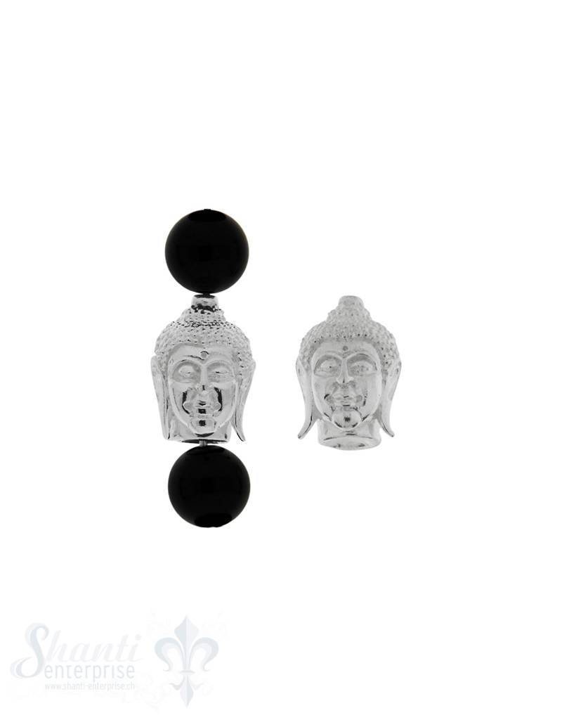 Zwischenteil Silber Buddhakopf 14x10 mm hell