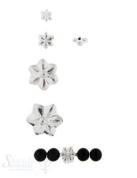 Zwischenteil Silber Blume poliert