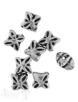 Zwischenteil Silber Blume geschwärzt 4-blättrig 6