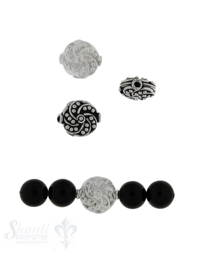 Zwischenteil Silber Scheibe verziert 13x12 mm Loch 1.3 mm 1 Pack = 2 Stk. ca. 4 gr.