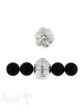 Zwischenteil Silber Kugel verziert 15 mm Loch 1.6