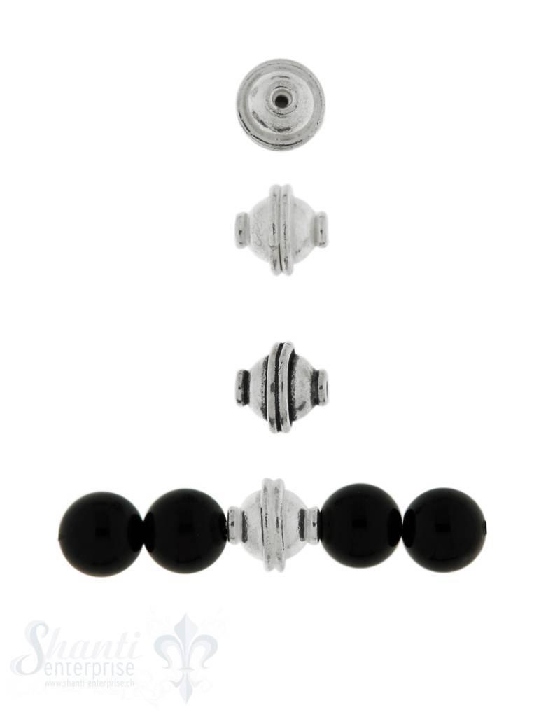 Zwischenteil Silber 9x9 mm Mitte gerillt Loch 1.7 mm 1 Pack = 4 Stk. ca. 5 gr.