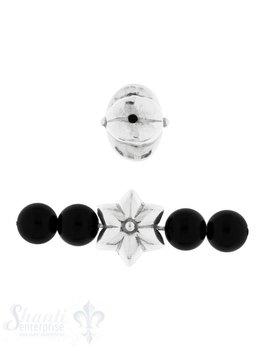 Zwischenteil Silber Blume poliert gekantet 14 mm L
