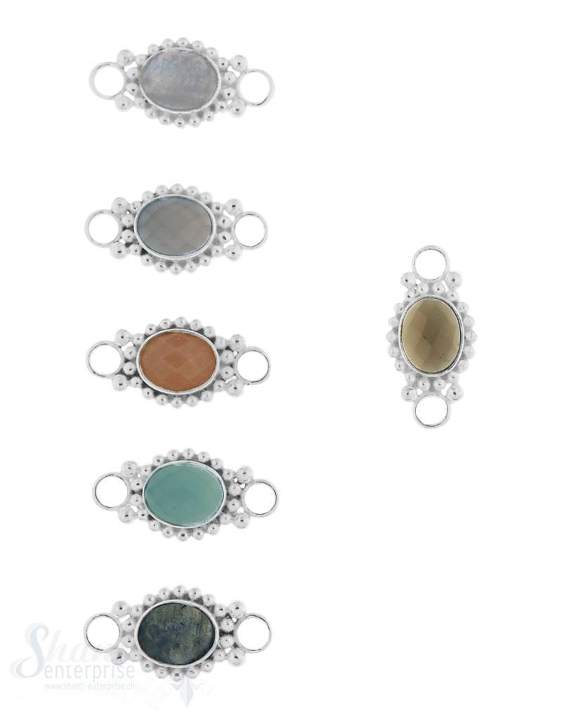 Silberteil mit Doppelösen getupft facett. 23x12 mm runde Ösen flach