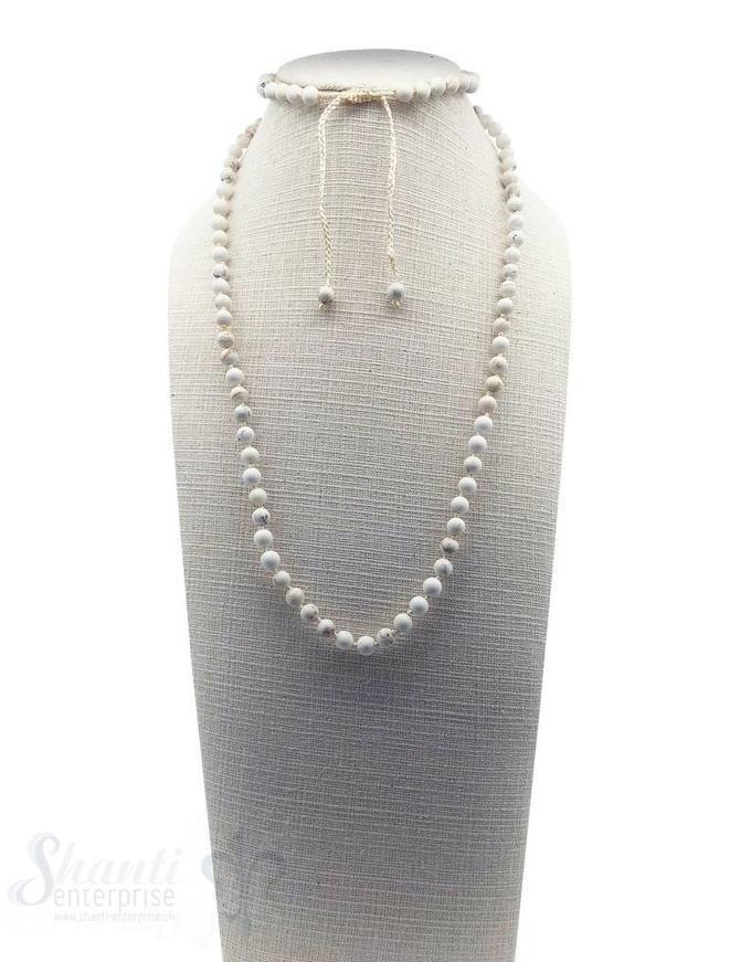 Halskette geknüpft 6 mm Grössen verstellbar 85-105 cm