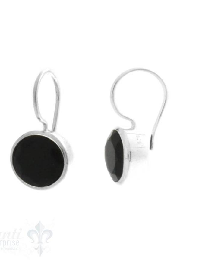 Ohrhänger Silber rund facett. 10 mm mit Bügel fix