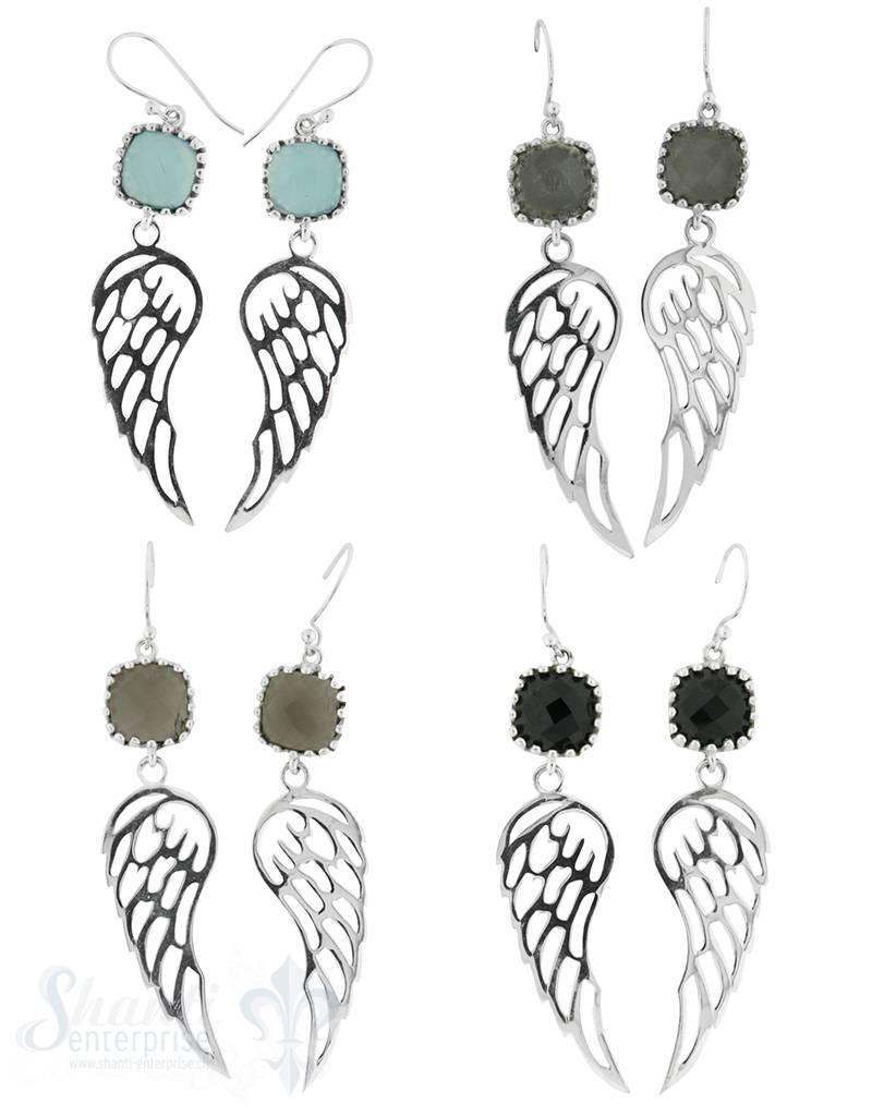 Ohrhänger mit Bügel:Silberflügel mit quadr. Stein 16x54 cm