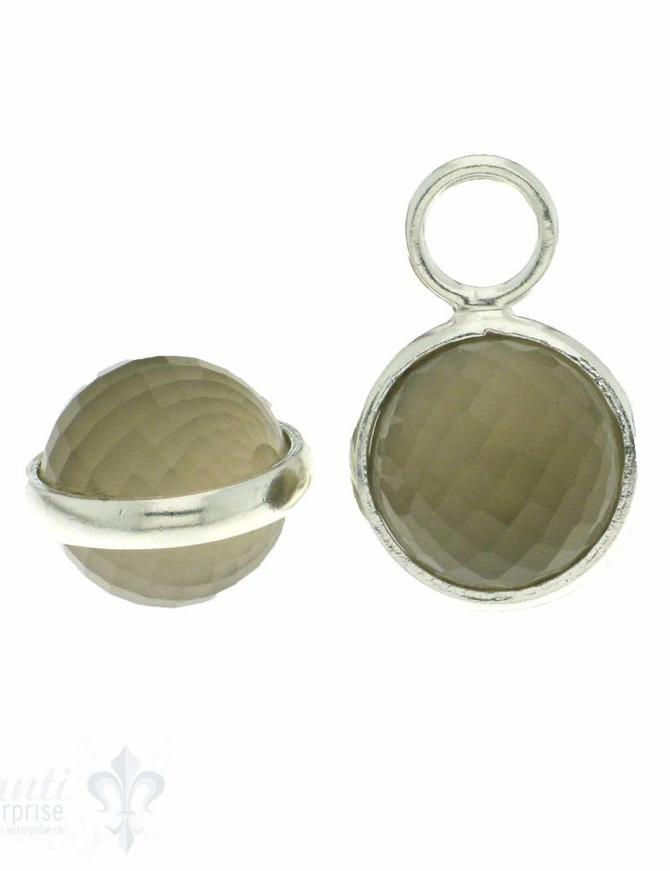 Anhänger für Creolen rund facett. Doppelschliff feine Silberfassung 14 mm
