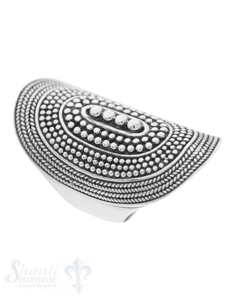 Silberring Ornament geschwärzt oval innen poliert 38x18 mm