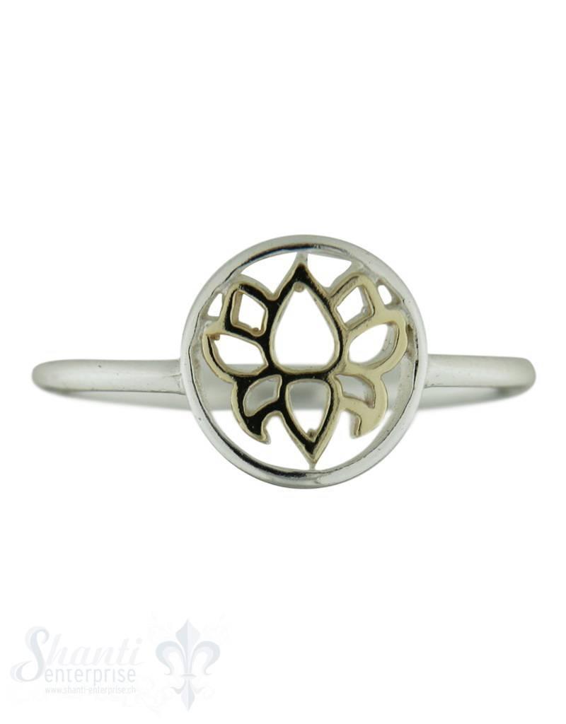 Silberring mit Blume in Gold durchbrochen fein