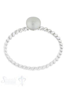 Silberring fein gedreht mit Perle weiss rund