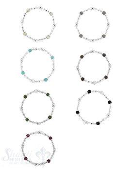 Silberarmkette: Diverse Teile mit 4 Steinen 6 mm 18 cm mit Gummifaden