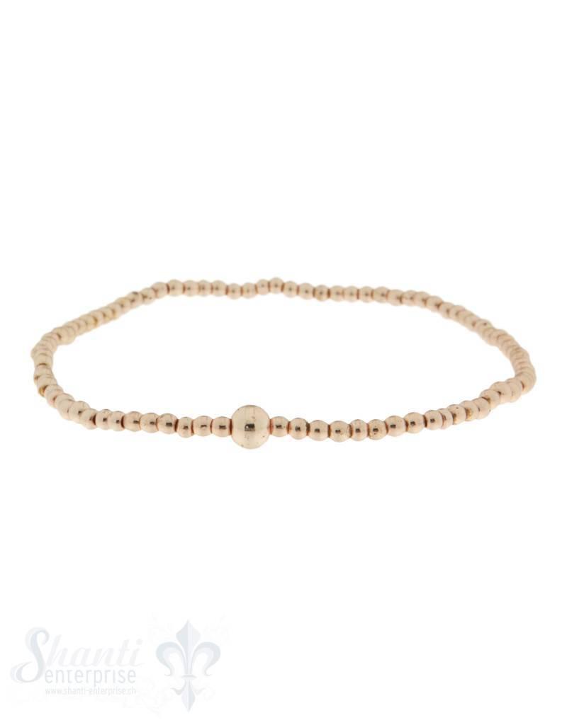 Elastikarmband Hämatit hellrose vergoldet 2 mm
