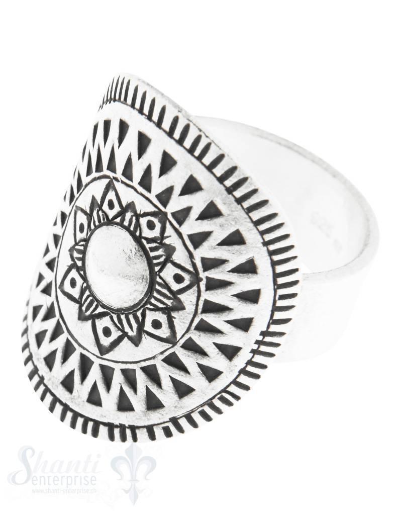 Silberring: antik mit rund gemusterter Scheibe, ge