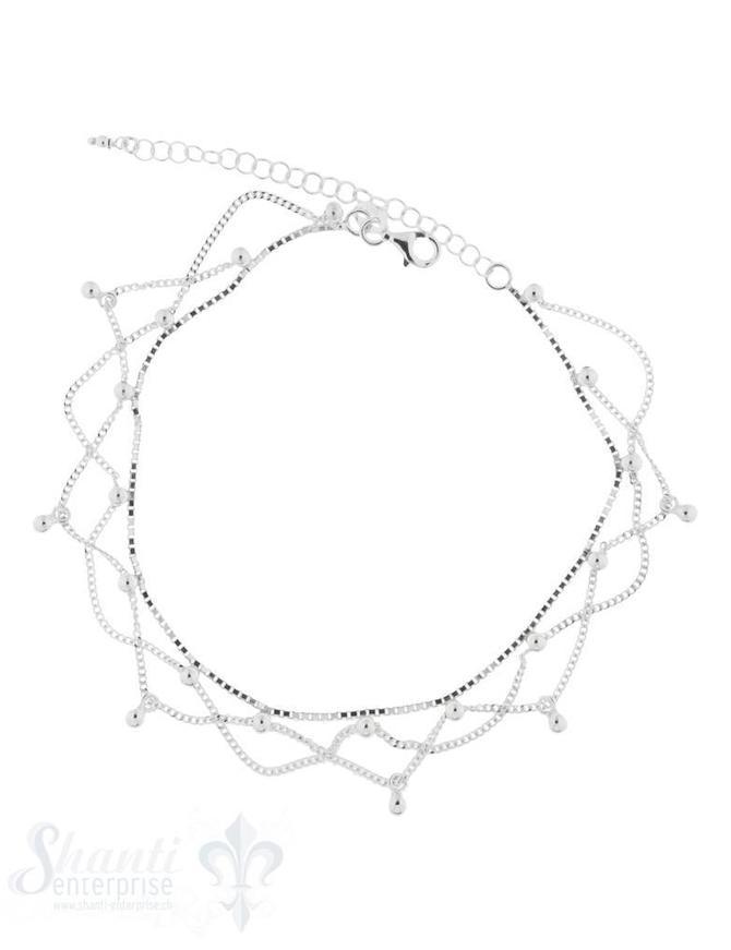 Fussketteli Silber mehrreihig mit Kugeli Verstellbar 22cm - 27 cm