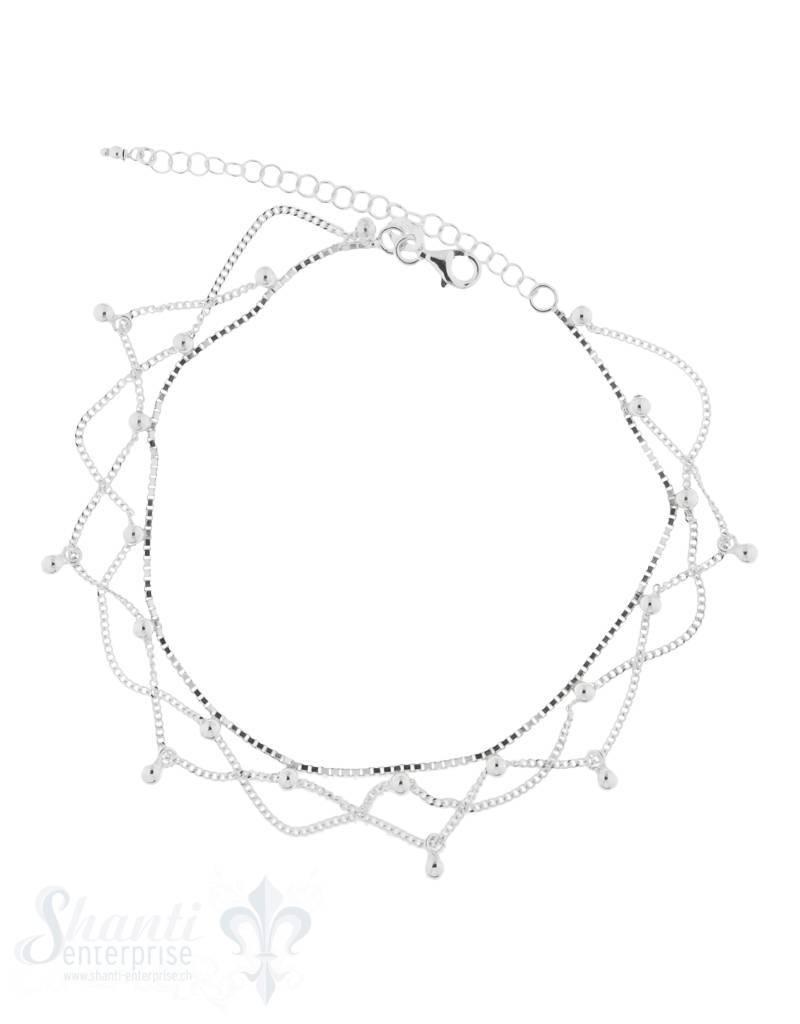 Fussketteli Silber mehrreihig mit Kugeli
