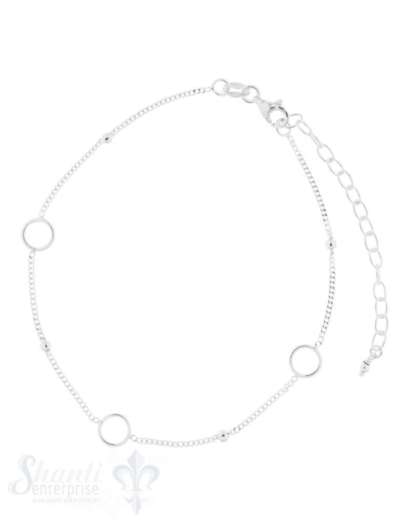Fussketteli Silber 3 Kreise mit Panzerkette