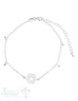 Fussketteli Silber Anker mit Mandala ung Kügel-