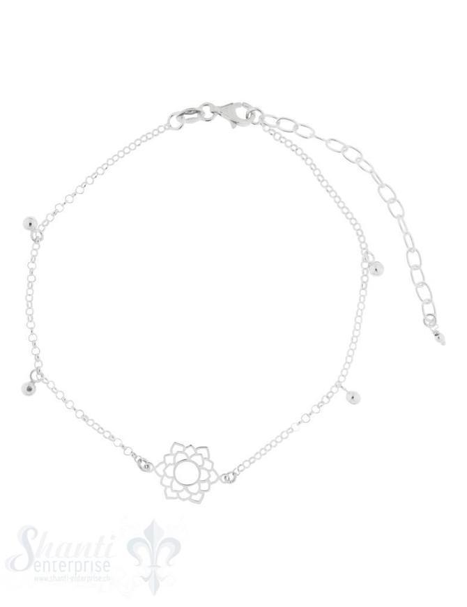 Fussketteli Silber Anker mit Mandala ung Kügel- Anhänger 22-28 cm Grössen verstellbar