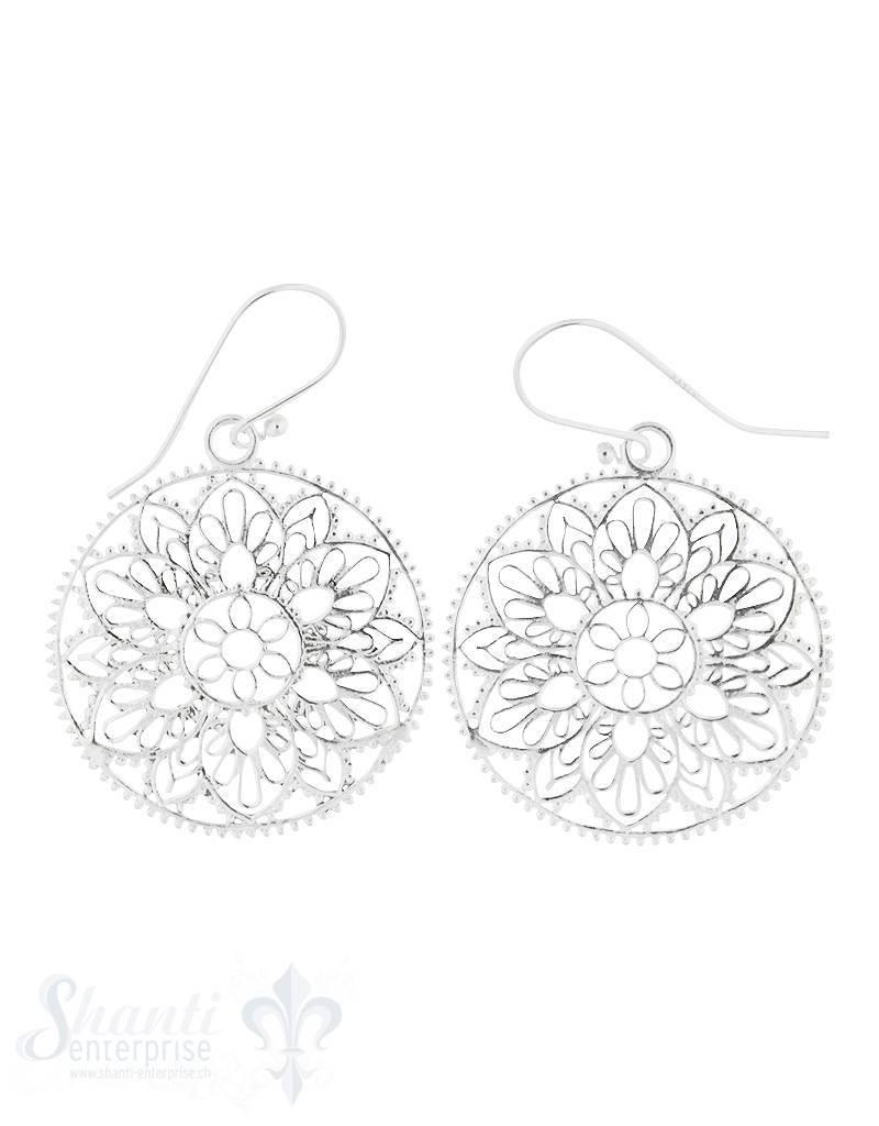 Ohrhänger Silber hell Blumenmandala 30 mm Rand getupft mit Bügel