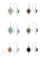 Ohrhänger Silber hell mit Bügel filigran verziert  oval facett.