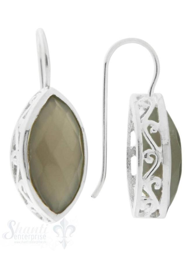Ohrhänger mit Bügel  Navette facett. Fassung verziert durchbrochen