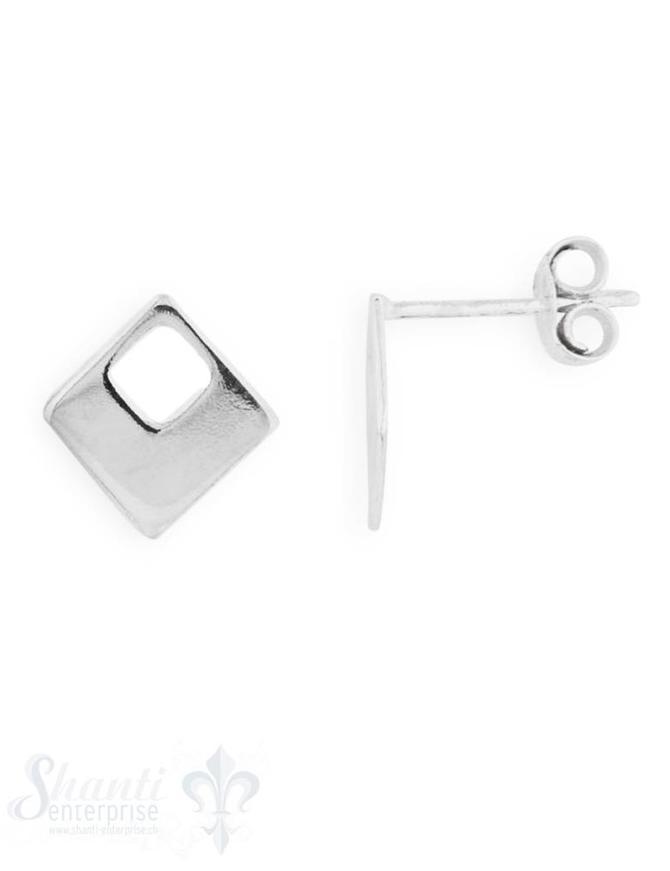 Ohrstecker: Quadrat flach mit kl.ausgestanztem Quadrat 7,5x7,5 mm