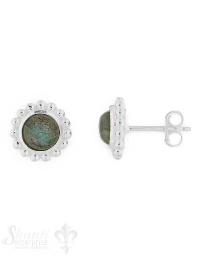 Ohrstecker Silber rund Silberfassung getupft 10 mm
