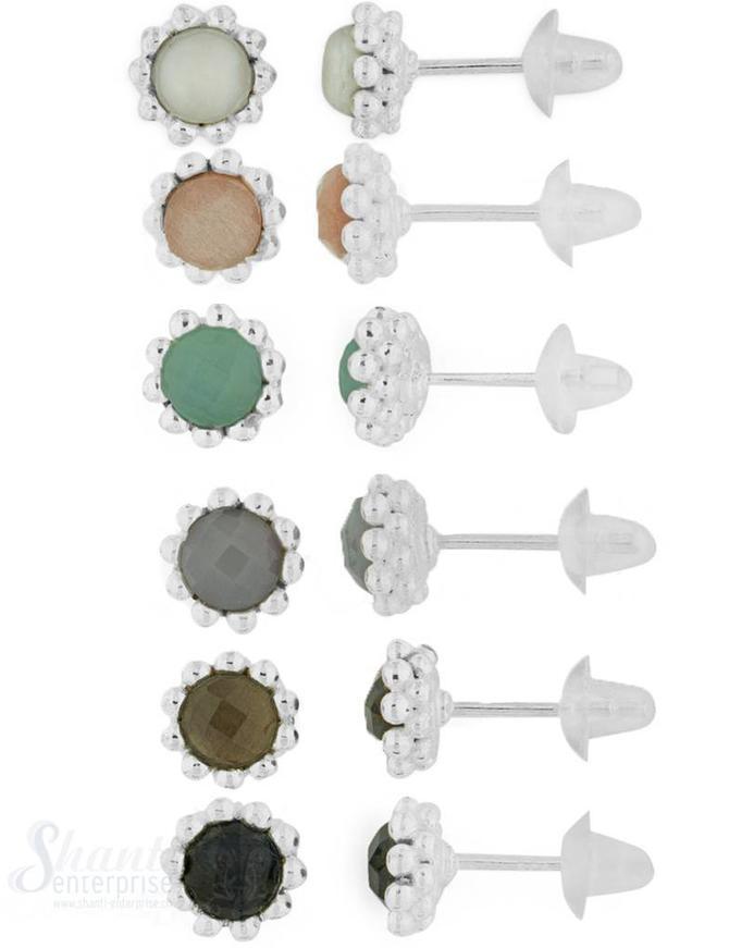 Ohrstecker Silber hell doppelreihig gepunktet  8 mm