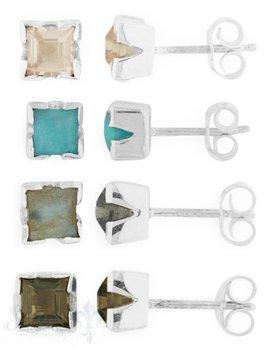 Silberohrstecker: Stein-Quadrat 6x6 mm Silberfassung