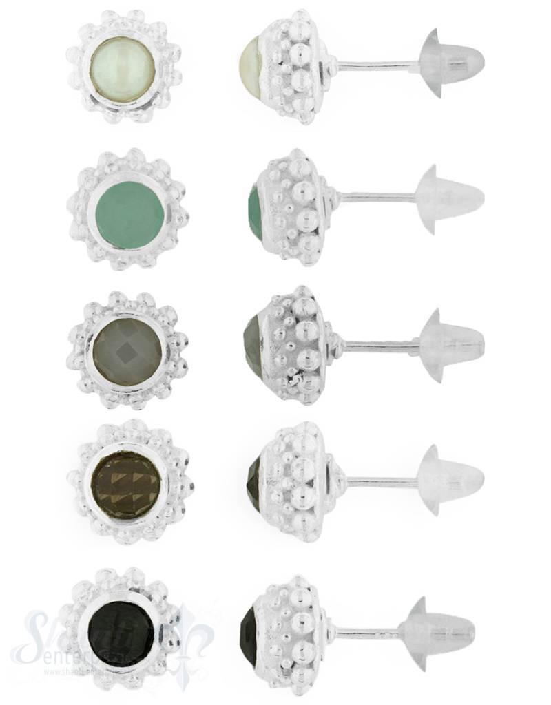 Ohrstecker Silber doppelreihig gepunktet 9 mm