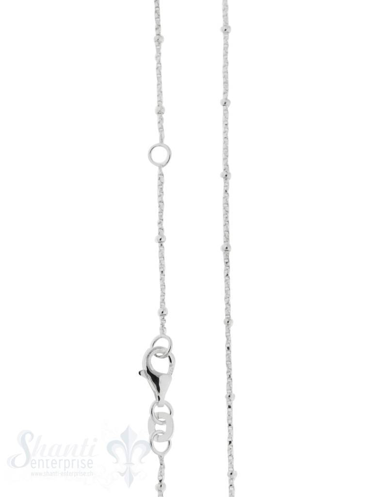 Silberkette Fantasie Venezianer 1 mm mit  Kügeli  Grössen verstellbar mit Karabiner