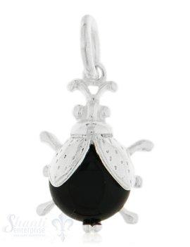 Anhänger Silber hell Käfer mit schwarzem Körper 20