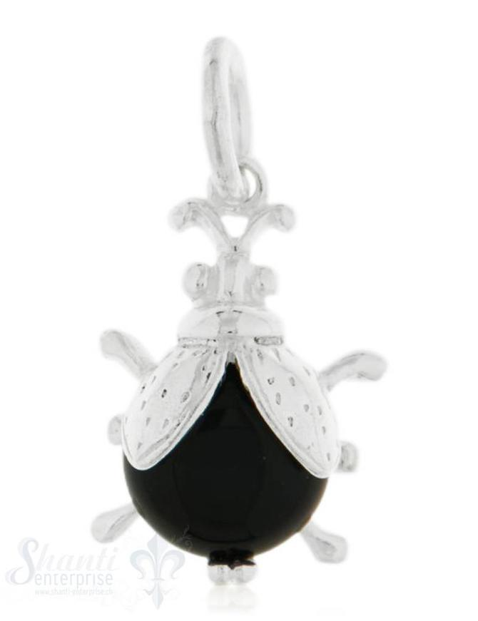 Anhänger Silber hell Käfer mit schwarzem Körper 20 x14 mm