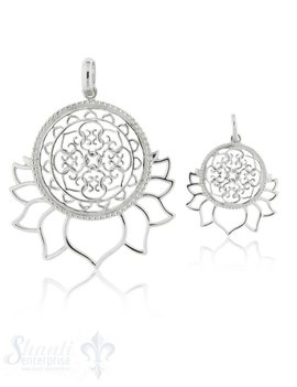 Silberanhänger hell Blumenmandala mit Lotus- Blüten unten durchbrochen mit Öse