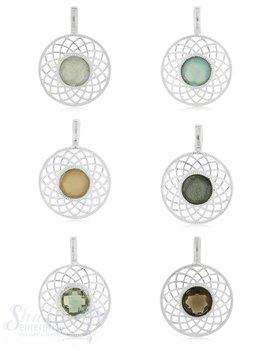 Anhänger Silber mit Stein facett. Blumenrand  20 mm