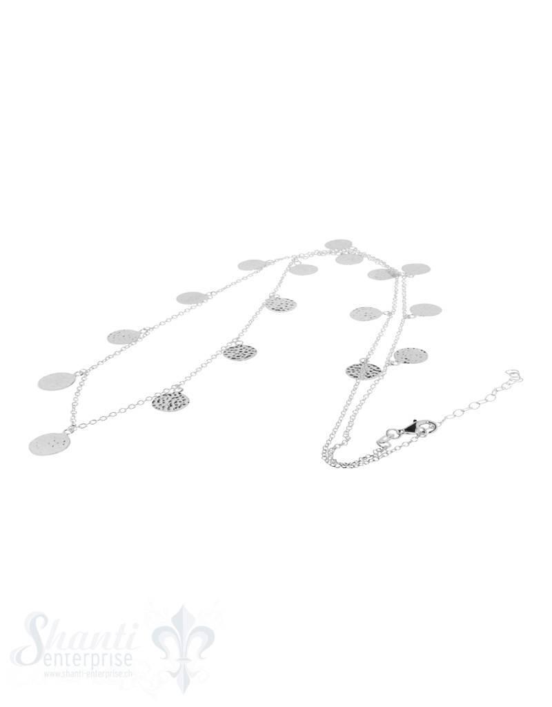 Si-Halskette:Anker fein mit Plaquetten hängend ein seitig gehämmert, Si-Schloss Grössen verstellbar 70-75 cm