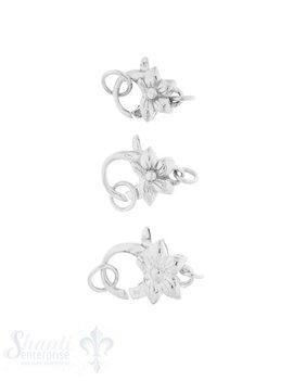 Karabiner Silber Blume mit 2 Ösen